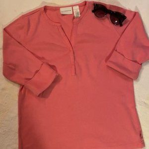 Pink Tee/3 Front Snaps - Size M